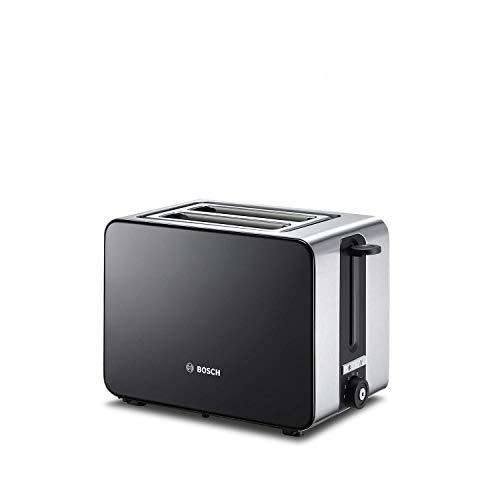 Bosch TAT7203 Kompakt-Toaster, Auftau/Aufknusperfunktion, automatische Brotzentrierung, Abschaltautomatik, 1050 W, Edelstahl/schwarz