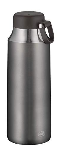 alfi Isolierflasche City Tea Bottle grau 900ml, Edelstahl Trinkflasche 100% dicht auch bei Kohlensäure, 5547.234.090 12 Stunden heiß, Thermosflasche 24 Stunden kalt, Teeflasche BPA-Frei
