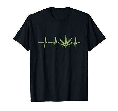 Marihuana Blatt Cannabis Kiffer Hanf Herzschlag T-Shirt