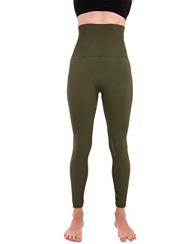 Homma Activewear Thick High Waist Tummy Compression Slimming Body Leggings Pant (X-Large, Olive)
