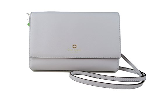 Kate Spade New York Saffiano Leather Charlotte Street Alek Crossbody in Stone Ice