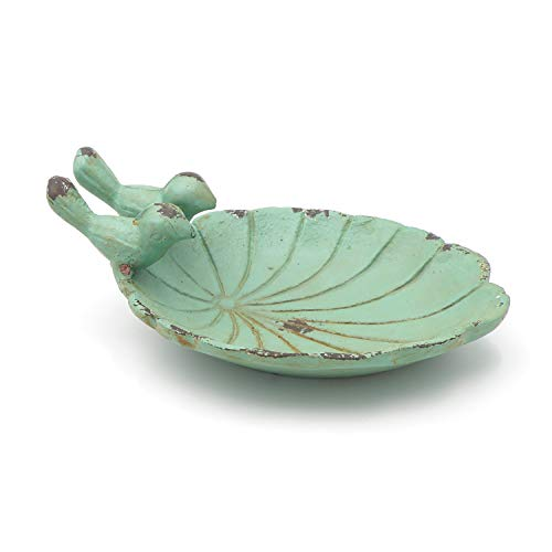 Abbeveratoio per uccelli in ferro e legno di mango, forma antica