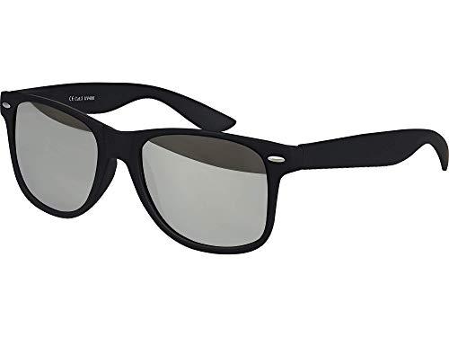 Balinco Hochwertige Nerd Sonnenbrille Rubber im Wayfarer Stil Retro Vintage Unisex Brille mit Federscharnier - 96 verschiedene Farben/Modelle wählbar (Schwarz - Silber verspiegelt)