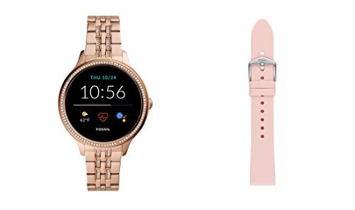 Fossil Damen Touchscreen Smartwatch 5E. Generation mit Lautsprecher, Herzfrequenz, GPS, NFC und Smartphone Benachrichtigungen + Fossil Watch Strap S181395