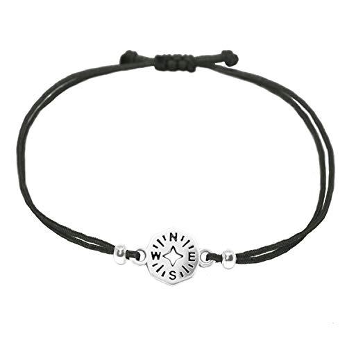 Selfmade Jewelry - Braccialetto con bussola in argento su cordoncino nero, regolabile