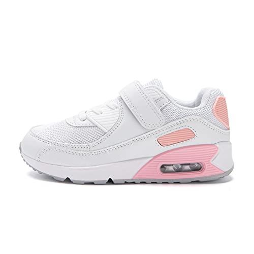 Zapatillas Niño Unisex Sneakers Niña Zapatos Deporte Running CalzadoNiños Casual Transpirables Antideslizante Rosa Talla 33 EU