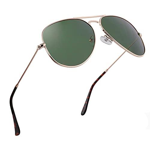 EFE Gafas de Sol Aviador Polarrizadas de Retro y Moda para Mujeres y Hombres Unisex Protección UV400 Contra los Rayos Ultravioletas para Pesca Senderismo Conducir Excursión Verde