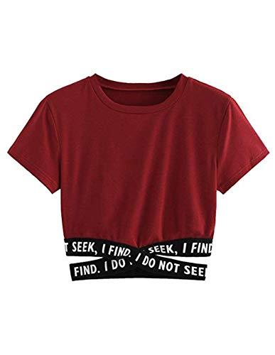 Bauchfreier Pulli Mädchen, Damen Bauchfrei Pullover Brief Drucken Casual Langarm Sweatshirt Kurz Sport Crop Tops Oberteile Sweatjacke Shirts Hemd Bluse (Rotwein 1, L)