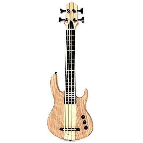 KEPOHK Ukelele de 4 cuerdas Bajo eléctrico Color natural Estilo Neck-Thru Bass-with-bag