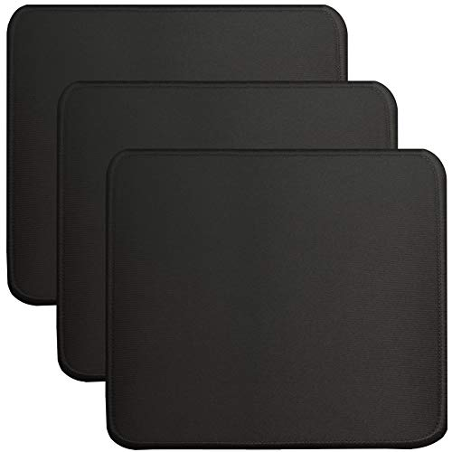 3 PCS of Black Standard Mouse Pads, Mouse pad with Stitched Edges,Rubber Anti Slip Base Mousepad,Mice pad for Office and Games, Washable,Square ,10.3inch x 8.3inch x 0.12inch