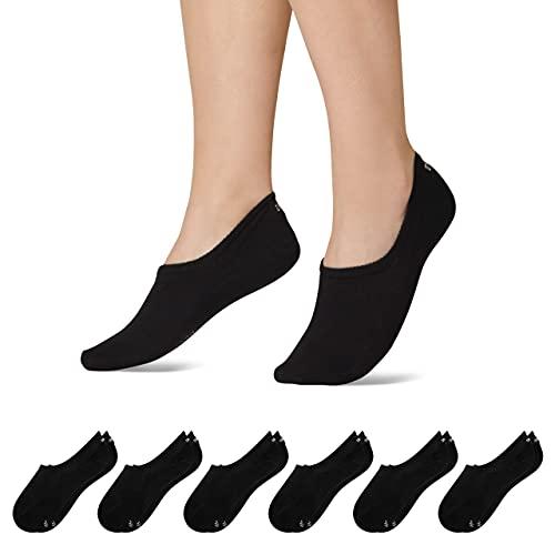 Snocks Sneaker Socken Damen & Herren (6x Paar) Füßlinge (6x Schwarz, 43-46)