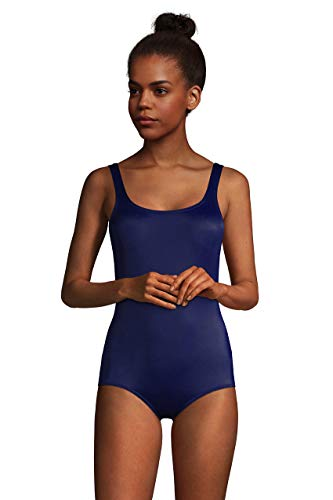 Lands' End Womens Chlorine Resistant Tugless Tank Soft Cup One Piece Swimsuit Deep Sea Navy Regular 12