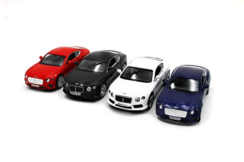 Just For Laughs Bentley Car 4 Pack, Official Diecast Continental GT (Red+Blue) Continental GT V8 (White+Black)