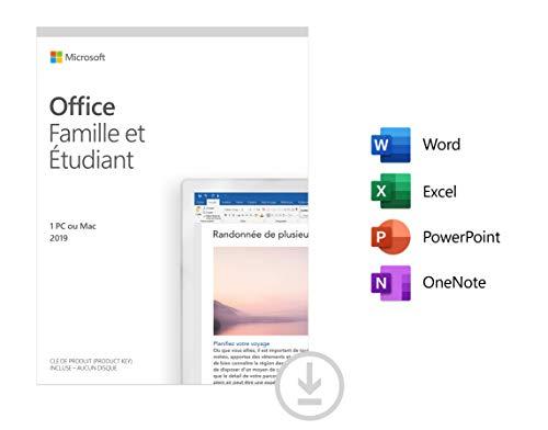 Microsoft Office Famille et Étudiant 2019 | Téléchargement | 1 PC ou Mac