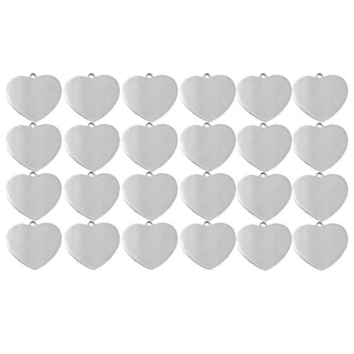 Ohomr Forma de Estampado en Blanco Etiquetas Corazón de Acero Inoxidable Colgantes del Encanto del Set de Accesorios para la joyería de DIY Que Hace 24PCS