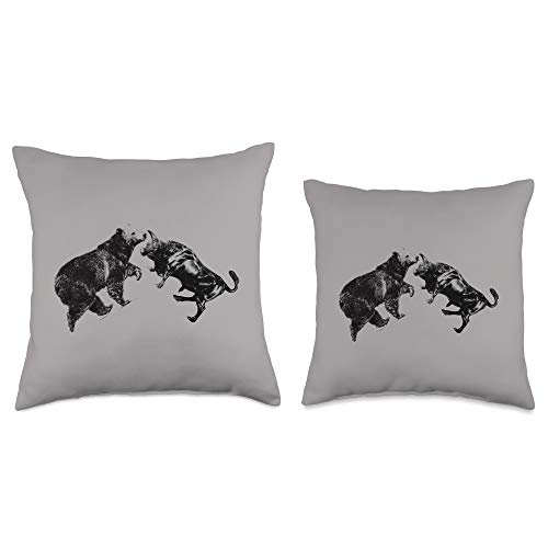 314TpkQ2t+L. SL500  - Trading Bull and Bear Stock Market Forex Trader Throw Pillow, 16x16, Multicolor