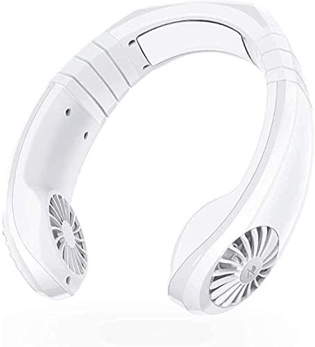 wsbdking Ventilador electrónico portátil 2 en 1 refrigerador de Aire Mini Cuello de Cuello Ventilador de Carga USB Ventilador de Carga Fresco Viaje al Aire Libre Rosa 21 8 x23 2 x6cm Blanco-Blanco