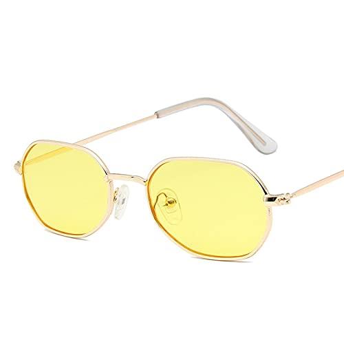 Gafas De Sol Mujeres Retro Clásico Pequeño Polígono Gafas De Sol Hombres Mujeres Lujo Vintage Negro Espejos Color Lente Transparente Gafas De Sol Uv400 05 Oro-Amarillo