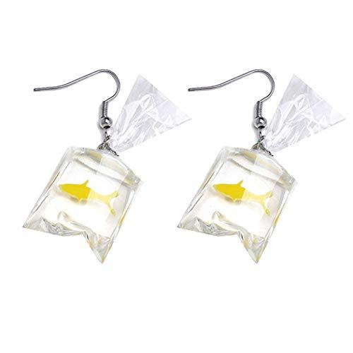 Iwinna Women Funny Goldfish Water Bag Shape Dangle Hook Earrings Female Charm Jewelry