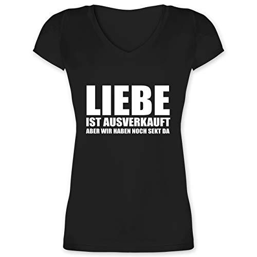 Festival - Liebe ist ausverkauft Sekt - weiß - L - Schwarz - Geschenk - XO1525 - Damen T-Shirt mit V-Ausschnitt