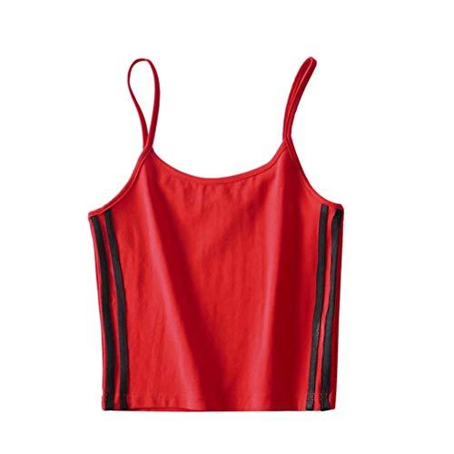 FENICAL Fenical Frau Seide Weste Seide Satin Camisole Weste Top für Frau Dame (Rot, XL)