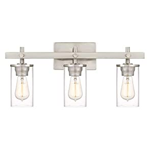 Tawson Hos Modern Farmhouse 3-Light Vanity Light Indutrial Wall Sconce Lighting with Clear Glass Shade in Brushed Nickel Finish for Bathroom, Hallway, Entryway, Kitchen, Mirror, Laundry Room