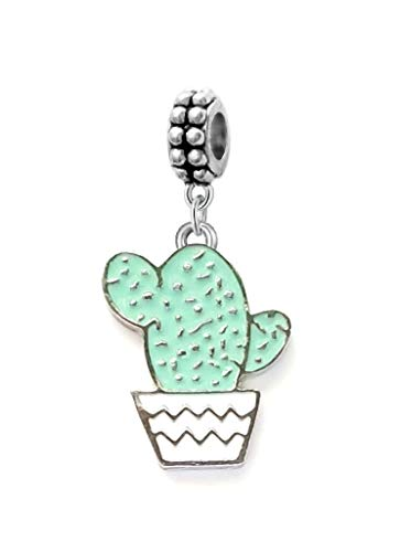 Dangle Green Cactus in Pot Charm Bead