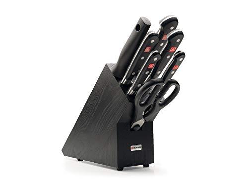Wüsthof Messerblock 7-teilig, Classic (9837-200), Küchenmesser Block (schwarze Esche) mit 5 Kochmessern, 1 Wetzstahl, 1 Schere, gutes Kochmesser-Set