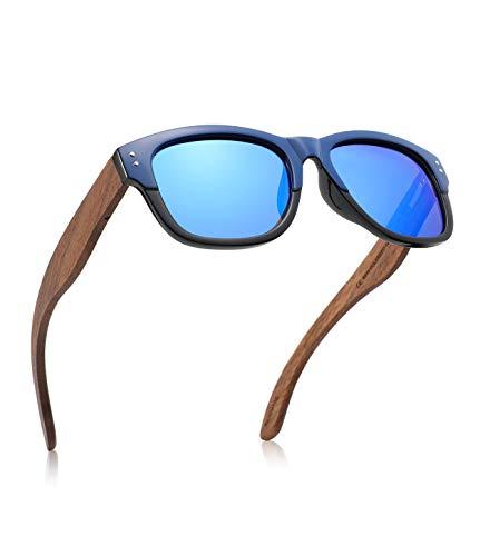 GREENTREEN Occhiali Da Sole Polarizzate per Uomo e Donna, Occhiali con Astine in Legno Lenti Polarizzate, UV 400 (Blu-3)