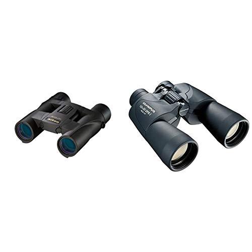 Nikon Aculon A30 Fernglas (10-Fach, 25mm Frontlinsendurchmesser) schwarz & Olympus 10 x 50 DPS-I Fernglas mit Tasche schwarz
