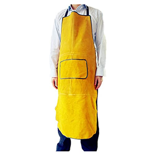Welding Apron Welder's Leather Apron, Thick wear-Resistant Welding Overalls, Anti-scalding, fire-Retardant and Flame-Retardant (Color : Yellow, Size : 105cm)