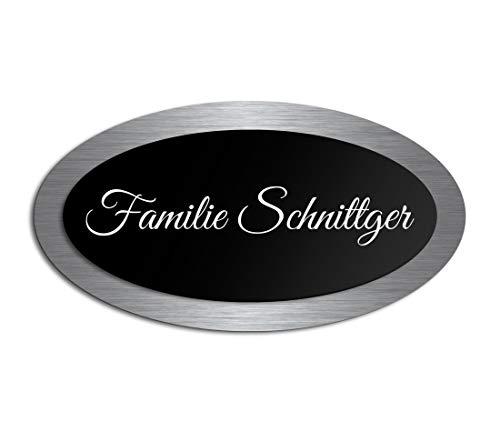 Premium Türschild aus Hochglanz Acrylglas und V2A Edelstahl | Namensschilder mit Gravur und Motiven Familienschild Türschilder für die Haustür mit Namen selbstklebend oder mit Bolzen 15x8 cm oval