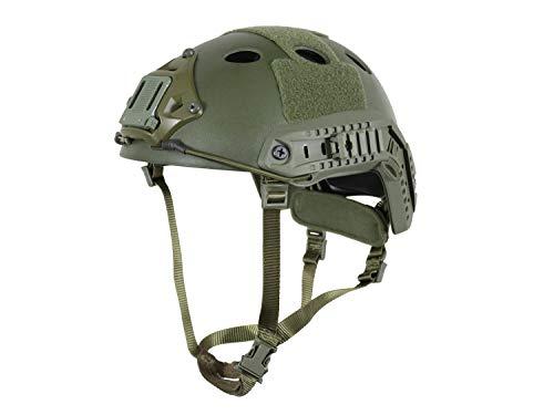 BEGADI Basic 'Parajumper Fast' Combat Helm, für Airsoft, mit umfangreichem Zubehör - Olive -