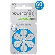 60 Powerone Hearing Aid Batteries No Mercury Size: 675