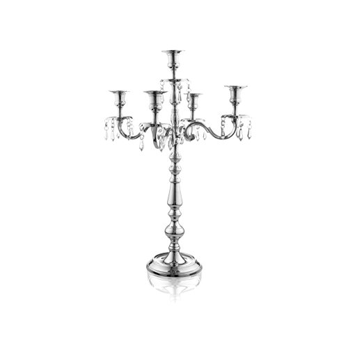Klikel Silver Candelabra - Traditional 16 Inch 5 Candle Candelabra With Crystal Drops - Classic Elegant Design - Wedding, Dinner Party And Formal...