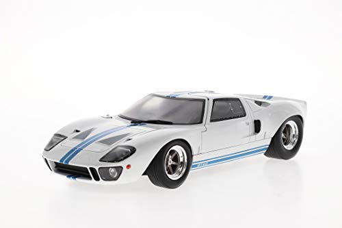 Solido S1803002 Ford GT40 MK1, breite Karosserie, Bj. 1968, Modellauto, 1:18, weiß mit blauen Streifen