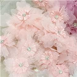SELCRAFT 100 Pieces Japan Maker New 3D Center Beaded Flower Chiffon lace Under blast sales Appliqu