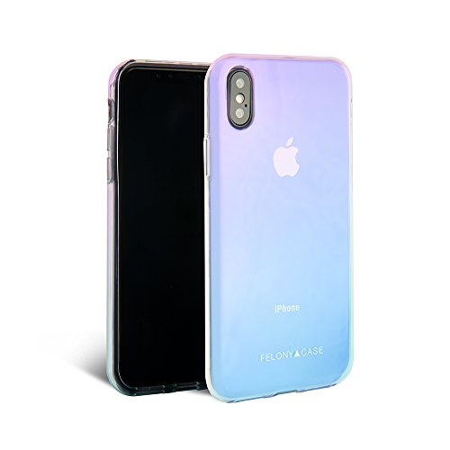 FELONY CASE - Holographic iPhone X/XS Case - Protective Shock Absorbing Stylish Reflective Holographic Case - Proof Protection for Screen & Body