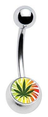 "Marijuana Pot Leaf Rasta Swirl Green, Yellow & Red Classic Style Sexy Belly Navel Ring 14g, 7/16"" Length"