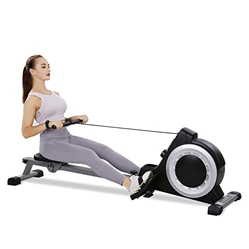 Magnetic Rowing Machine Rower, 250 LB Capacity 16 Levels Tension Silence Resistance for Whole Body Rowing w/LCD Monitor Foldable for Home Use Cardio Training Equipment