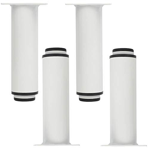 DEYLK Pies ajustables para muebles de 10 pulgadas, pies redondos de acero laminado en frío, patas de repuesto de metal para armarios, sofás y mesas de café, color negro, juego de 4
