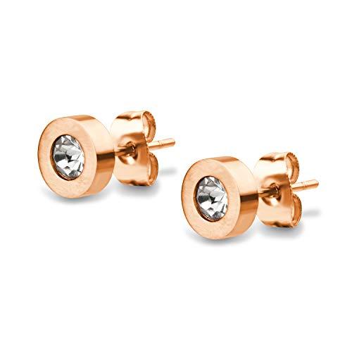 555Jewelry - Pendientes de tuerca de acero inoxidable con circonitas cbicas brillantes y brillantes, 1 par