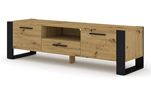 BIM Furniture TV Stand Nuka 160 cm Lowboard kast TV tafel dressoir commode Hi-Fi tafel modern Artisan eiken