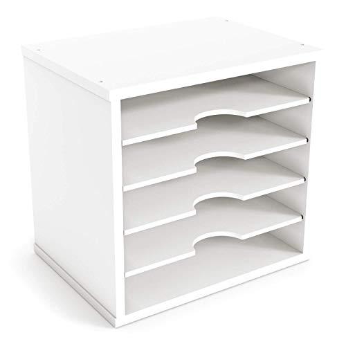 Ballucci File Organizer Paper Sorter, 5 Tier Adjustable Shelves Office Desk Organizer, 13 5/8' x 9 1/4' x 12', White