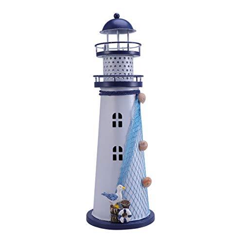 VOSAREA Windlichthalter Vintage Eisen Leuchtturm Form mit Vogel LED Dekorative Kerzenlaternen Kerzenständer Nautische Maritime Deko (Blau)