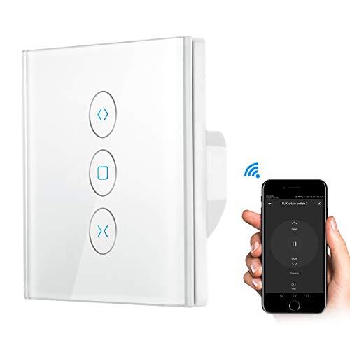 ALLOMN Interruptor Eléctrico Elegante de las Persianas de WiFi, Interruptor de Cortina de Toque Trabaje con la Función de Sincronización de Control de voz de la Aplicación de Alexa/Google Home