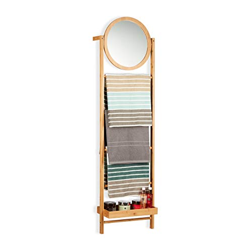 Relaxdays Bamboo Towel Rack with Mirror, Leaning Ladder Shelf for Bathroom and Hallway, 4-Tier Valet, Natural
