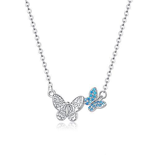Qings Collana Argento 925 Donna Collana Farfalla, Chain Necklace Butterfly Pendant for Women, Collana con Ciondolo Farfalla per Bambini Ragazza e Donna
