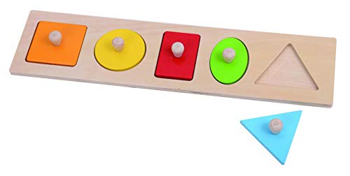 Fat Brain Toys Geometry Puzzle - Let's Learn Shapes! Wooden Puzzle Baby Toys & Gifts for Ages 1 to 2