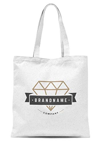Diamant Canvas Tote Bags Retro Vintage Insignia Logotyp Label Badge Design Element Business Zeichen Vorlage Schultertasche Geldbörse für Frauen Shopping Arbeit Reisen